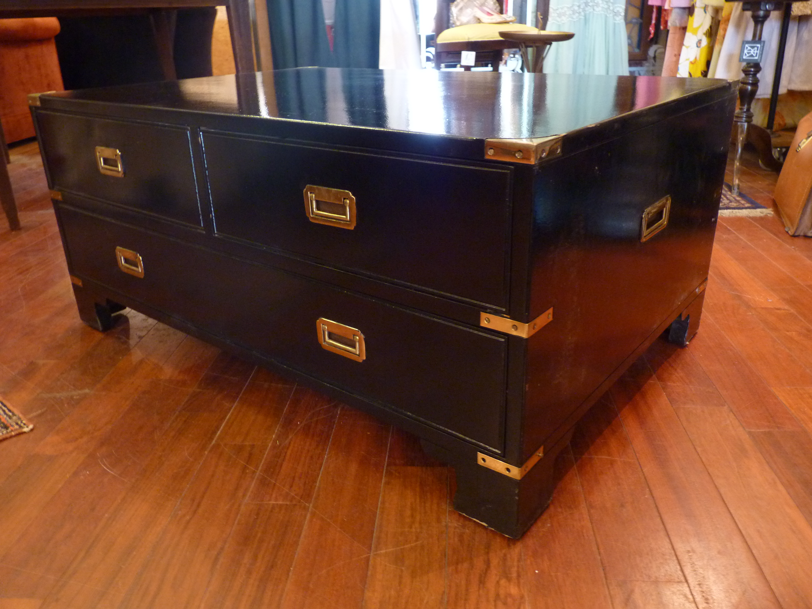 Campaign Style Black Lacquer Chest Coffee Table   Image 2 Of 9