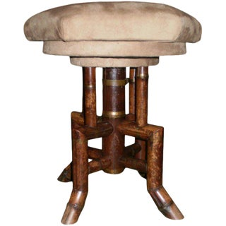 Antique French Bamboo Vanity Stool