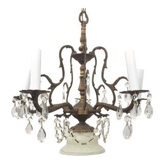 Cast Brass & Crystal Five-Arm Chandelier
