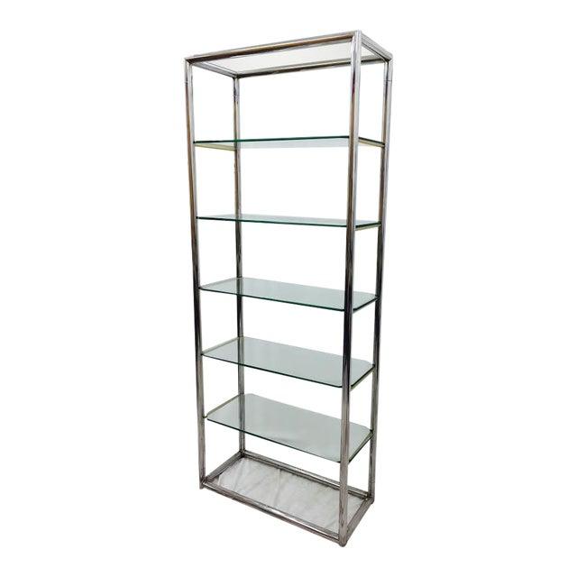 mid century modern tubular chrome glass etagere shelf. Black Bedroom Furniture Sets. Home Design Ideas