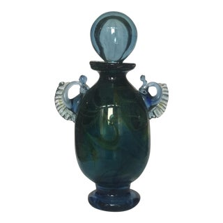 Vintage Handblown Glass Decanter in Blue and Emerald With Spherical Top