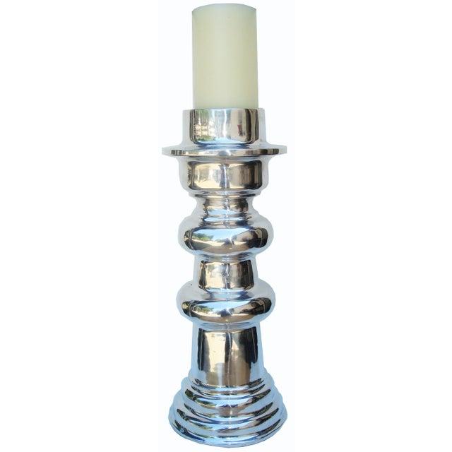 X-Large Polished Aluminum Candle Holder - Image 1 of 3