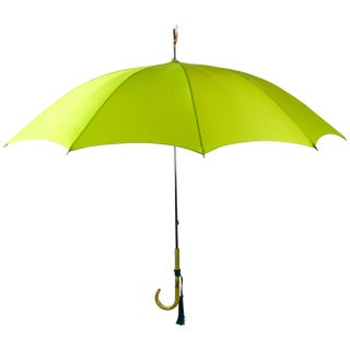 Vintage Green Umbrella Italian Bakelite Handle