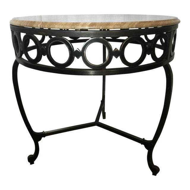 Wrought Iron & Marble End Table - Image 1 of 5