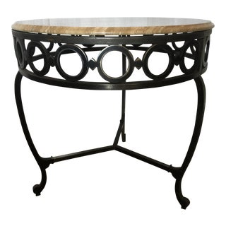 Wrought Iron & Marble End Table