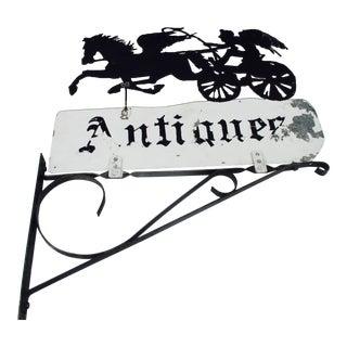"Rusty Iron ""Antiques"" Trade Sign Pegasus Horse"