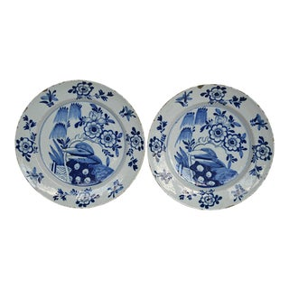 18th Century Antique Delft Blue and White Porcelain Platters - Pair