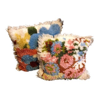 Vintage Latch Hook Flower Pillows - A Pair