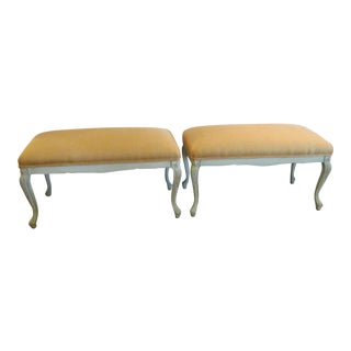 White Carved Wood Benches - A Pair