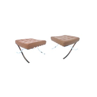 Barcelona-Style Leather Ottomans - A Pair