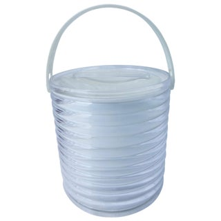 Clear Lucite & White Ice Bucket
