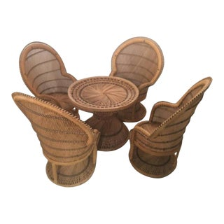 Rattan Wicker Children's Dining Table Set