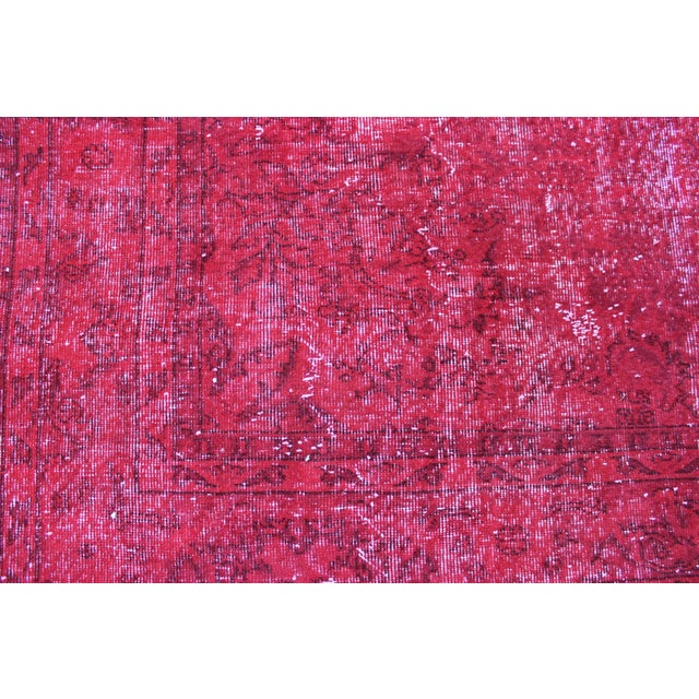 Red Overdyed Vintage Turkish Rug - 7′ × 10′10″ - Image 7 of 8