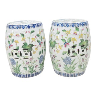 Chinese Floral Garden Stools - A Pair