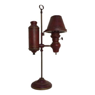 Red Tole Student Lamp