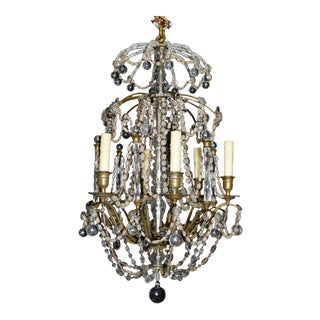 Gilt bronze and crystal chandelier