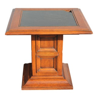 Mid-Century Slate Top Accent Table