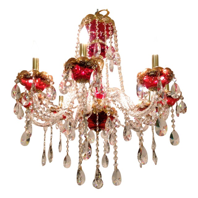 Red Crystal Chandelier - Image 1 of 8