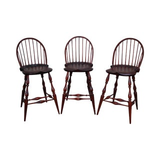 Stephen Von Hohen Bucks County Solid Pine Windsor Bar Stools - Set of 3