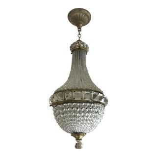Antique French Crystal Bead Basket Chandelier