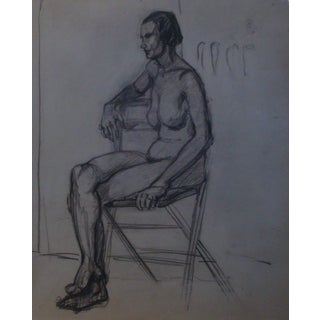 1930s Nude on Folding Chair, Two-Sided Charcoal Drawing