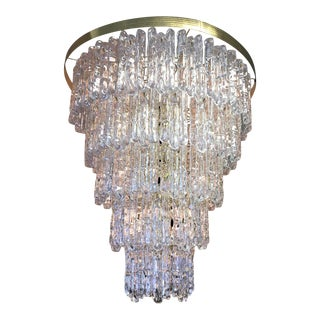 Hollywood Regency Five Tier Lucite Icicle Chandelier