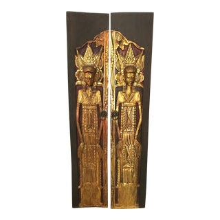 Asian Golden Teak Door Panels - A Pair