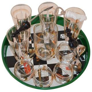 17 Piece Vintage Mid-Century Modern Chess Themed Bar Set
