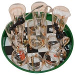 Image of 17 Piece Vintage Mid-Century Modern Chess Themed Bar Set