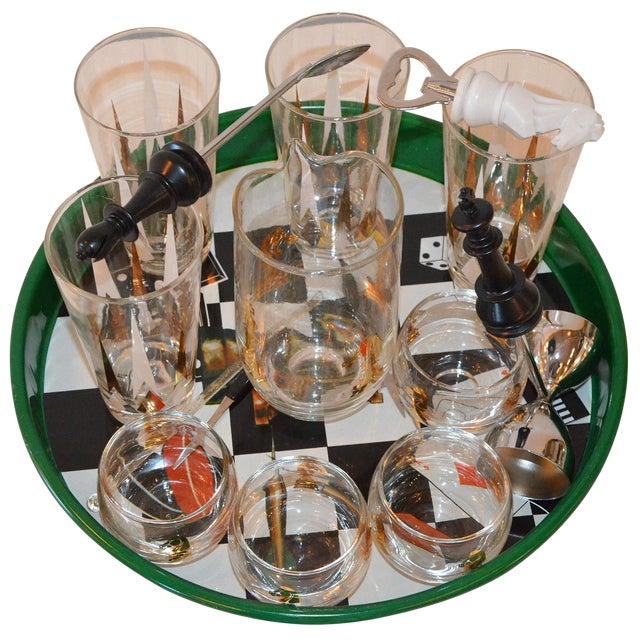 Image of 17 Piece Vintage Mid-Century Modern Chess Themed Bar Set