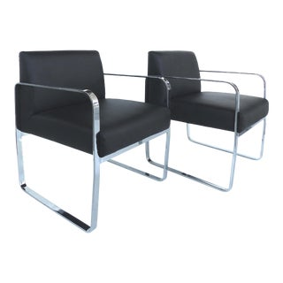 Polished Stainless Steel Chairs Leather Upholstery - A Pair