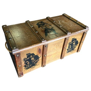1950's Pirate Graphics Wooden Toy Chest