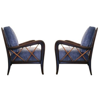 Sculptural Pair of Armchairs Attributed to Paolo Buffa, Italy, 1950s
