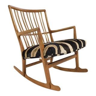 Vintage Hans Wegner for Mikael Laursen ML-33 Rocking Chair Reupholstered in Zebra Hide