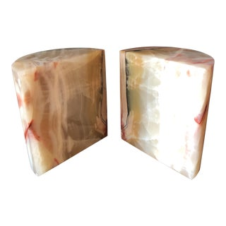Large White & Pink Marble Bookends - a Pair