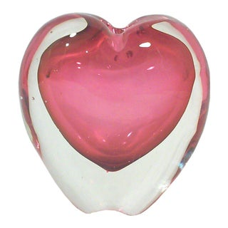 Murano Pink Heart Vase Paper Weight