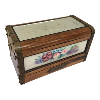 Antique Rosewood & Porcelain Box