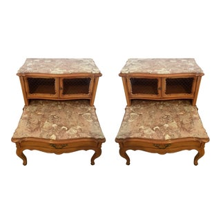 French Provincial Marble Top Nightstands - Pair