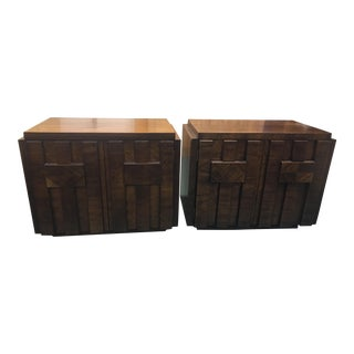 Walnut Brutalist Nightstands - A Pair