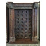 Image of Antique Architectural Red and Blue Door Bookcase
