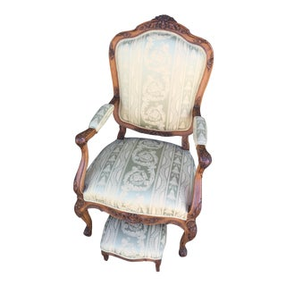 Carved French Silk Begere & Footstool