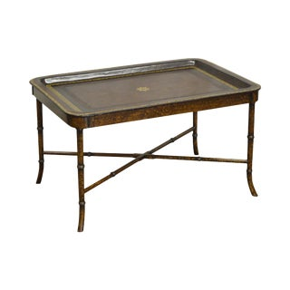 Maitland Smith Hand Painted Faux Bamboo Leather Top Tray Top Coffee Table
