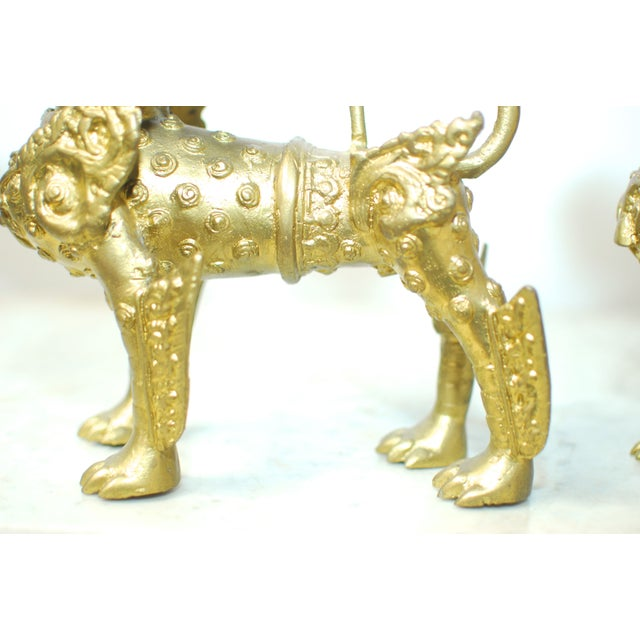 Image of Brass Foo Dogs With Gilt Finish - A Pair