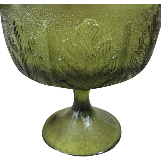 Vintage 1978 Green Glass Pedestal Dish - Image 1 of 6