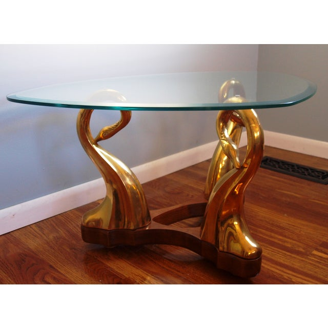 Brass Swan & Glass Coffee Table - Image 2 of 7