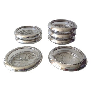 Sterling Silver & Glass Drinks Coasters - Set of 7
