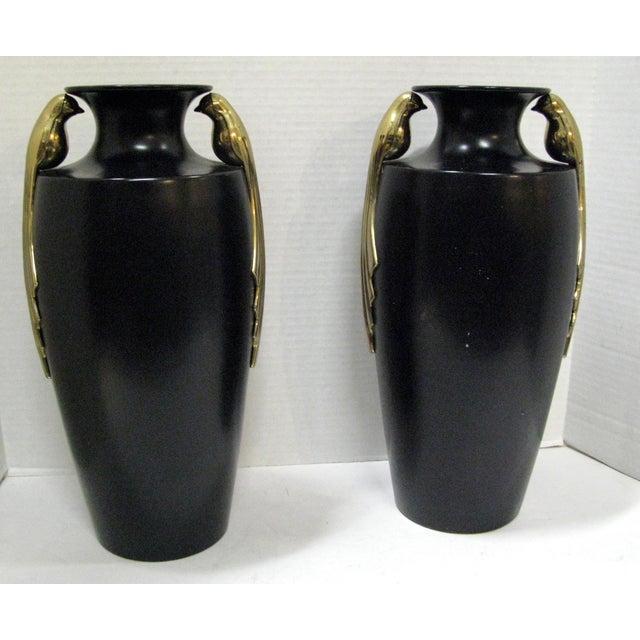 Black & Brass Art Deco Metal Vases - A Pair - Image 2 of 11