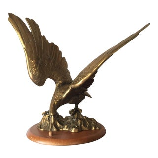 Brass Eagle Figure on Wooden Base