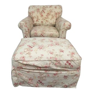 Vintage Rowe Furniture Floral Upholstered Armchair & Ottoman