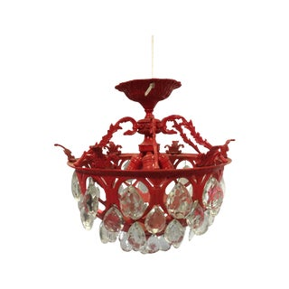 Vintage metal and crystal chandelier painted red